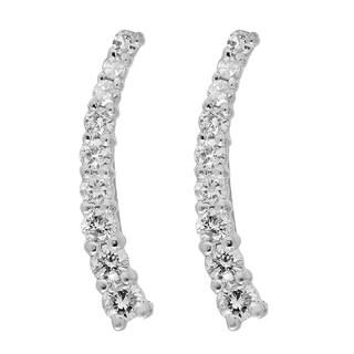 Elora 10k White Gold 1/4ct TDW Round-cut White Diamond Crawler Climber Earrings (I-J, I2-I3)