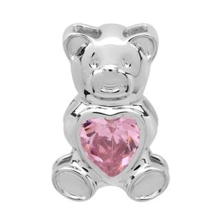 Elora Sterling Silver 1ct TGW Pink Cubic Zirconia Teddy Bear Pendant