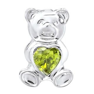 Elora Sterling Silver 1ct TGW Green Cubic Zirconia Teddy Bear Pendant