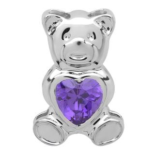 Elora Sterling Silver 1ct TGW Violet Cubic Zirconia Teddy Bear Pendant