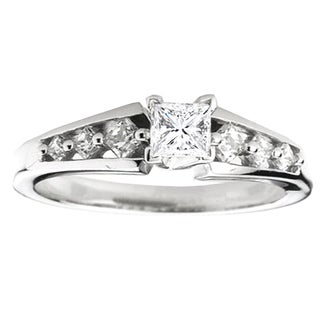 Elora 14k White Gold 1/5ct TDW Princess White Diamond Bridal Semi Mount Ring (I-J, I1-I2)