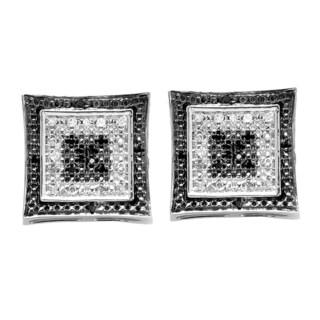 Elora Sterling Silver 1/6ct TDW White and Black Round Diamond Kite Shape Stud Earrings (I-J, I2-I3)
