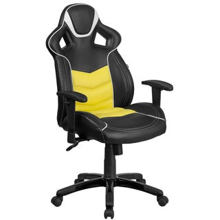 Largo High Back Black Leatherette with Yellow Vinyl Center Executive Adjustable Swivel Office Chair with Headrest