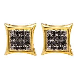 Elora 10k Yellow Gold 1/10ct TDW Round Black Diamond Kite Shape Earrings