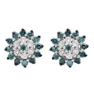 Elora Sterling Silver 1/4ct TDW Round Blue and White Diamond Cluster Style Stud Earrings (I-J, I2-I3)