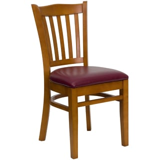 Riverdale Cherry Wood Burgundy Upholstered Classic Dining Chairs