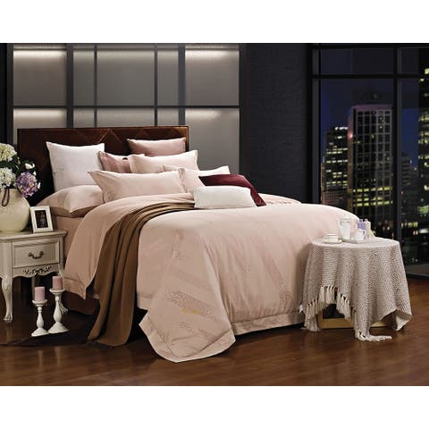 Duvet Cover Set, 6 Piece w. Fitted Sheet, Cotton Jacquard Bedding