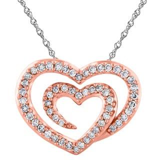 14k Rose Gold 1/4cttw White Diamond Double Heart Pendant