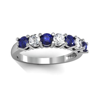 14k White Gold 1ct TGW Round Blue Sapphire and Diamond Accent Bridal Band (H-I, I1-I2)