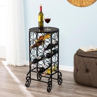 Harper Blvd Glass-topped Black Iron Scrollwork Wine Table