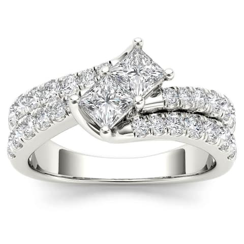 De Couer 14k White Gold 1 1/2ct TDW Two-Stone Diamond Engagement Ring