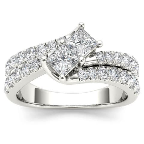 De Couer 14k White Gold 1 1/2ct TDW Two-Stone Diamond Engagement Ring - White H-I