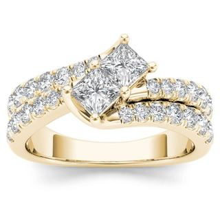 De Couer 14k Yellow Gold 1 1/2ct TDW Two-Stone Diamond Engagement Ring