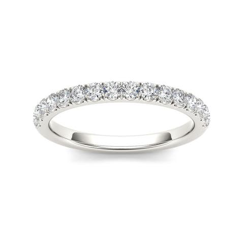 De Couer IGI Certified 10k White Gold 1/3ct TDW Diamond Wedding Band - White H-I