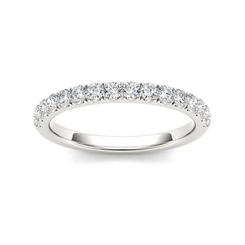 De Couer IGI Certified 10k White Gold 1/3ct TDW Diamond Wedding Band