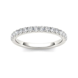 De Couer IGI Certified 10k White Gold 1 3ct TDW Diamond Wedding Band White H I