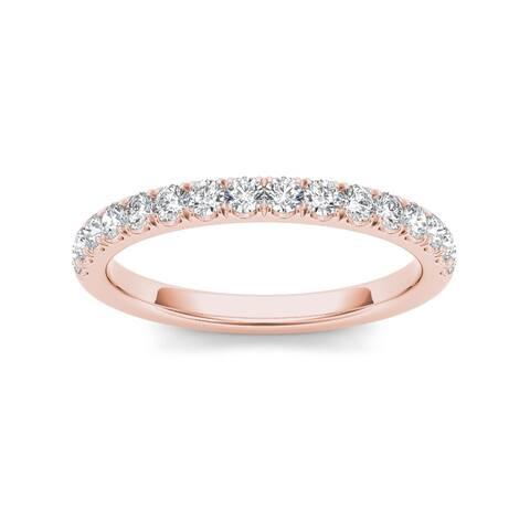 De Couer IGI Certified 10k Rose Gold 1/3ct TDW Diamond Wedding Band - Pink