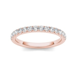 De Couer 10k Rose Gold 1/3ct TDW Diamond Wedding Band - Pink