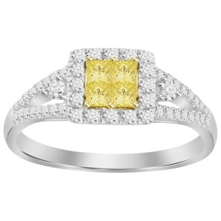 14k Two-tone Gold 1/2ct TDW Canary Yellow Diamond Ring (H-I, I1-I2)