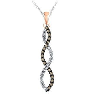 10k rose gold 1/4ct tdw round brown and white diamond infinity necklace