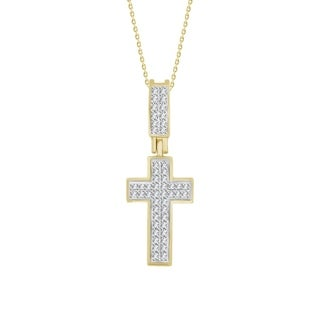 10k Yellow Gold 1/6ct TDW Round Diamond Cross Pendant (I-J, I2-I3)