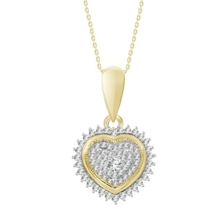 10k yellow gold 1/5ct tdw round diamond heart necklace