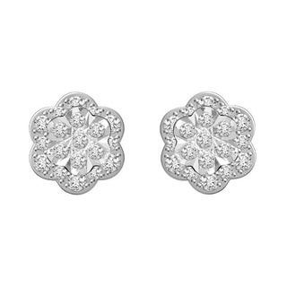 Sterling silver 1/2ct tdw round diamond flower earrings