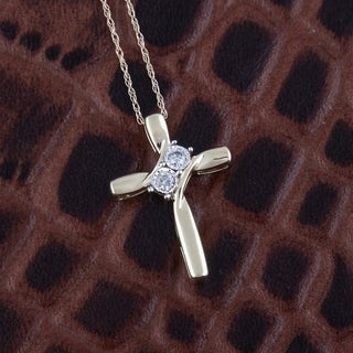 10k Yellow Gold 1/10ct TDW 2-stone Cross Pendant with Chain