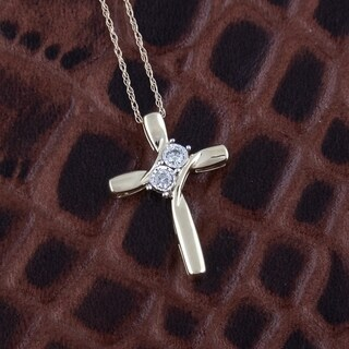 10k yellow gold 1/10ct tdw two stone cross necklace