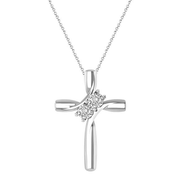d74235f35 1/10 cttw Round Natural Diamond Ladies's Two Stone Cross Pendant with 18