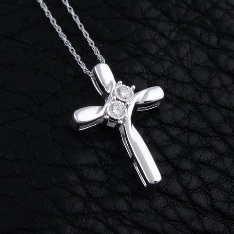 10k white gold 1/10ct tdw round diamond two stone cross necklace