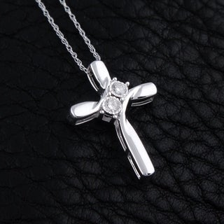 "1/10 cttw Round Natural Diamond Ladies's Two Stone Cross Pendant with 18"" Chain Necklace 10K White Gold"
