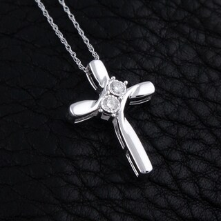 10k white gold 1/10ct tdw round diamond two stone cross necklace
