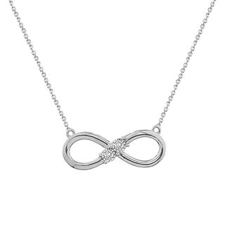 10k White gold 1/10ct tdw three stone diamond Infinity necklace