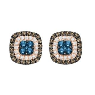 10k rose gold 1.00ct tdw enhanced blue and natural brown diamond cushion shape stud earrings