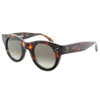 Celine CL 41425 AEA Alia Havana Black Plastic Round Sunglasses with Brown Degrade Lens