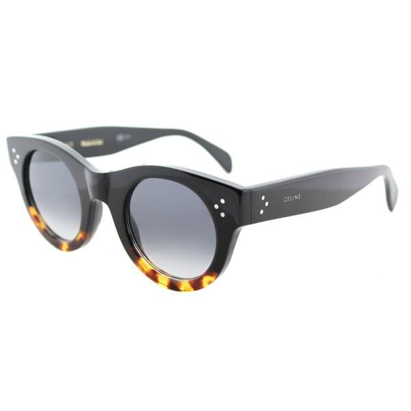 88df464d9af Celine CL 41425 FU5 Alia Black Havana Tortoise Plastic Round Sunglasses  with Grey Degrade Lens