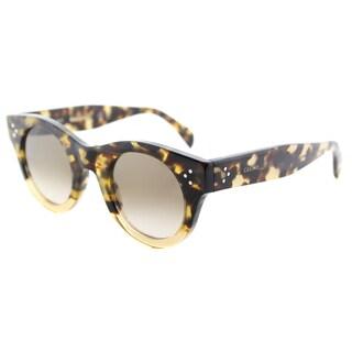 Celine CL 41425 VNN Alia Havana Honey Beige Plastic Round Sunglasses with Brown Degrade Lens
