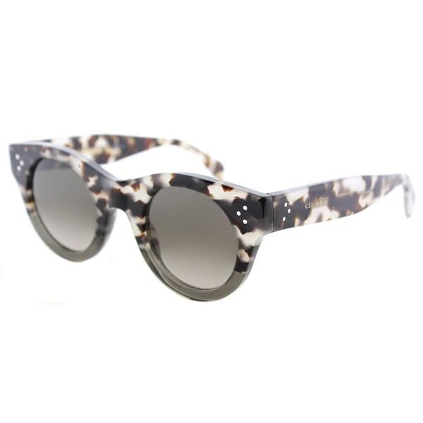 37ef4e75ec087 Celine CL 41425 VNO Alia Havana Grey Plastic Round Sunglasses with Brown  Degrade Lens