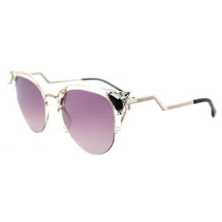Fendi FF 0041 9EX Iridia Rose Palladium Plastic Cat-Eye Sunglasses with Violet Gradient Lens