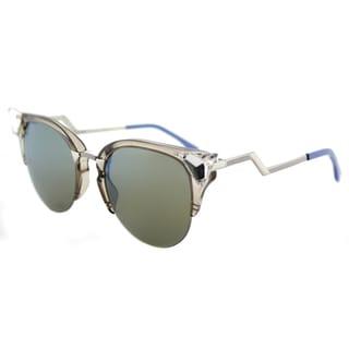 Fendi FF 0041 9F4 Iridia Turteldove Palladium Plastic Cat-Eye Sunglasses with Khaki Blue Mirror Lens