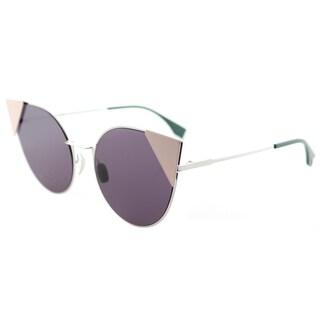 Fendi Anti-reflective Palladium Pink Metal Cat-Eye Sunglasses