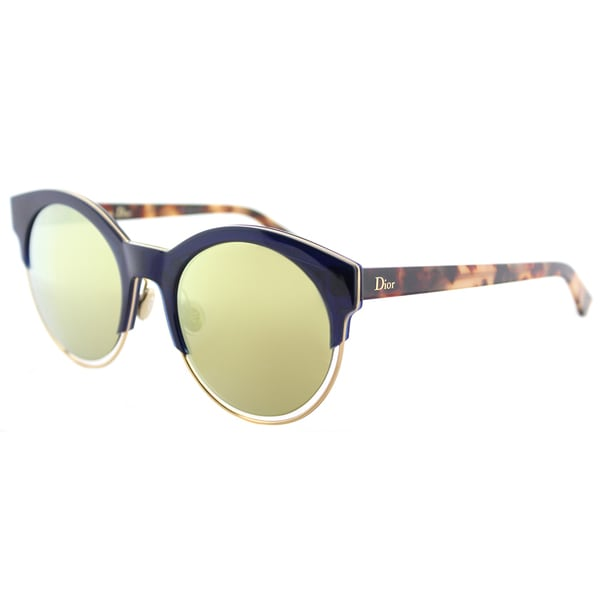 cf90eb4f362 Dior Dior Sideral 1 S XW7 K1 Blue Havana Plastic Round Sunglasses with  Brown Gold