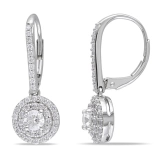 Miadora Signature Collection 14k White Gold 1ct TDW Diamond Halo Leverback Earrings