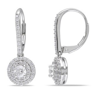 Miadora Signature Collection 14k White Gold 1ct TDW Diamond Halo Leverback Earrings