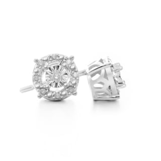 1/10 Carat Halo Diamond Stud Earrings In Sterling Silver