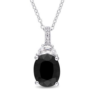 Miadora Sterling Silver Black Sapphire Created White Sapphire and Diamond Accent Teardrop Dangle Necklace (G-H, I2-I3)
