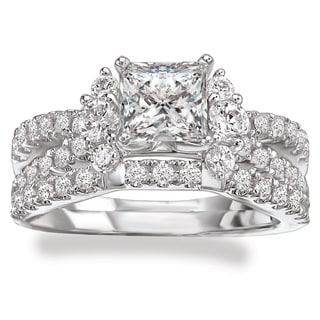 Avanti Rhodium Plated Sterling Silver Cubic Zirconia Princess Cut Center Split Shank Bridal Set