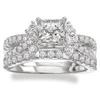 Avanti Rhodium Plated Sterling Silver Cubic Zirconia Princess Cut Center Split Shank Bridal Set