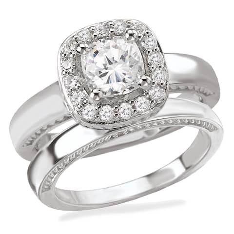 Avanti Rhodium Plated Sterling Silver Cubic Zirconia Cushion Cut Center with Halo and Plain Shank Bridal Set